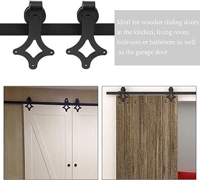 Puerta corredera de 200 cm, sistema de puerta corredera, riel, herraje de puerta corredera, riel de puerta, herraje de madera, armario, puerta de granero, kit de hardware para una puerta: Amazon.es: Bricolaje