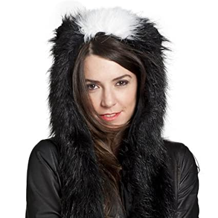 Amazon.com  Faux Fur Animal Winter Snow Ski Hats Hoods Skunk with ... 39b3c3d730f