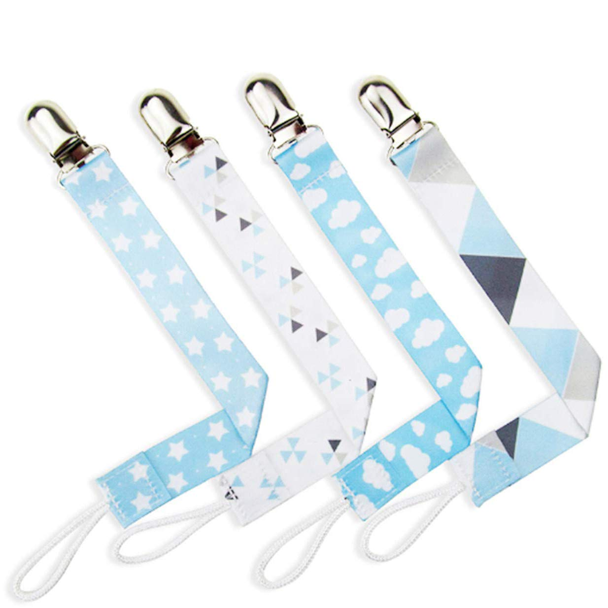 Fliyeong Durable 4pcs Dummy Clip Baby Pacifier Holder for Boy and Girl