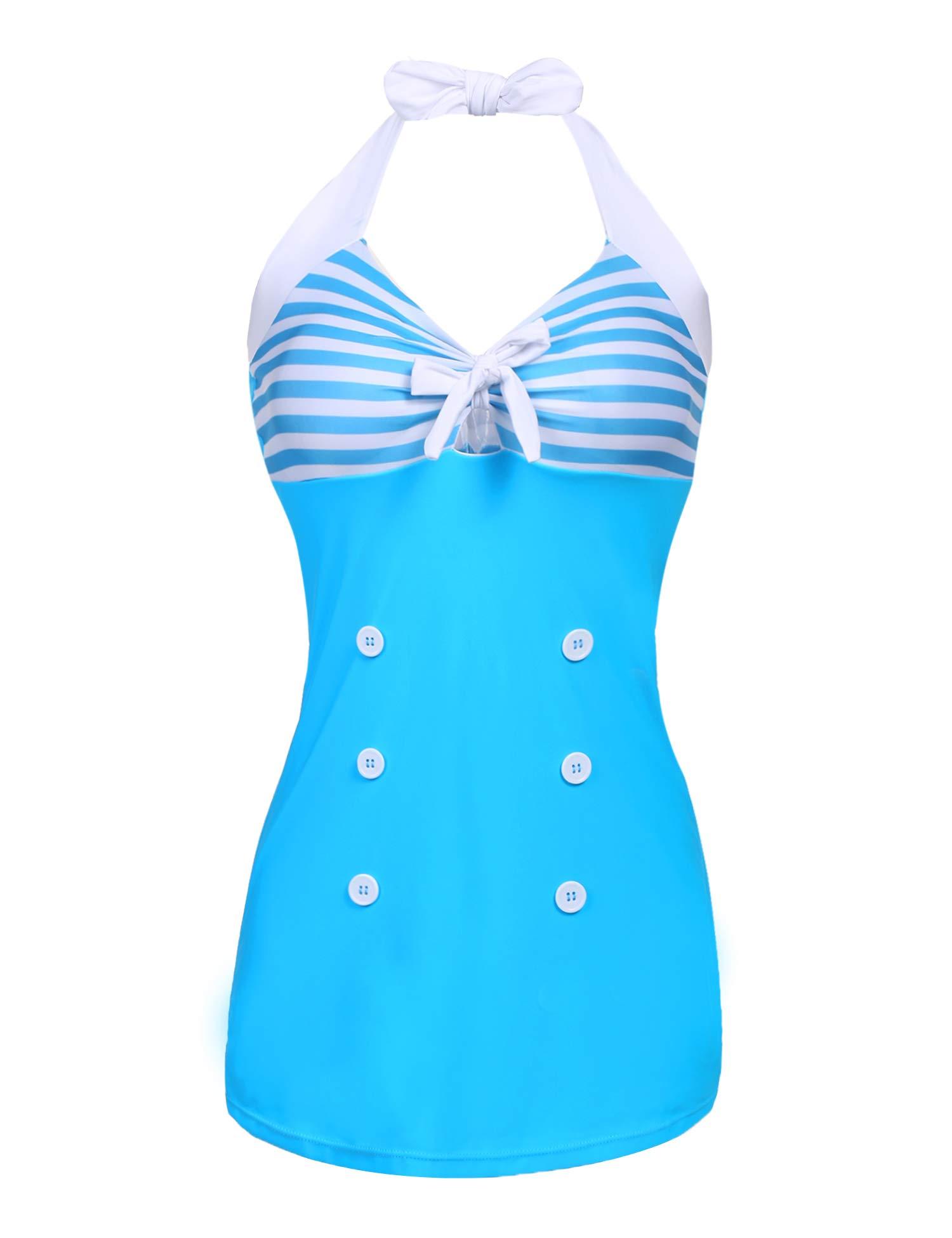 dfdf80e57200c Galleon - Ekouaer Womens Retro Sailor One Piece Swimsuit Striped Contrast  Color Slim Fit Boyshorts Bathing Suit Light Blue 4X-Large