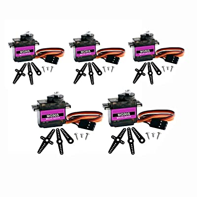 DaFuRui 5Pcs MG90S Micro Servo Motor Mini 9G Metal Geared Micro Servo Compatible for Arduino RC Robot Helicopter Airplane Boat Controls: Toys & Games