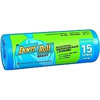 Saco para lixo Dover-Roll Resist, 15 litros, azul, rolo com 40 sacos