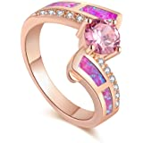 JRSIAL Timeless Violet Fire Opal Color Fashion Jewelry Rings Suitable for Women Pink Cubic Zirconia Ring Gift
