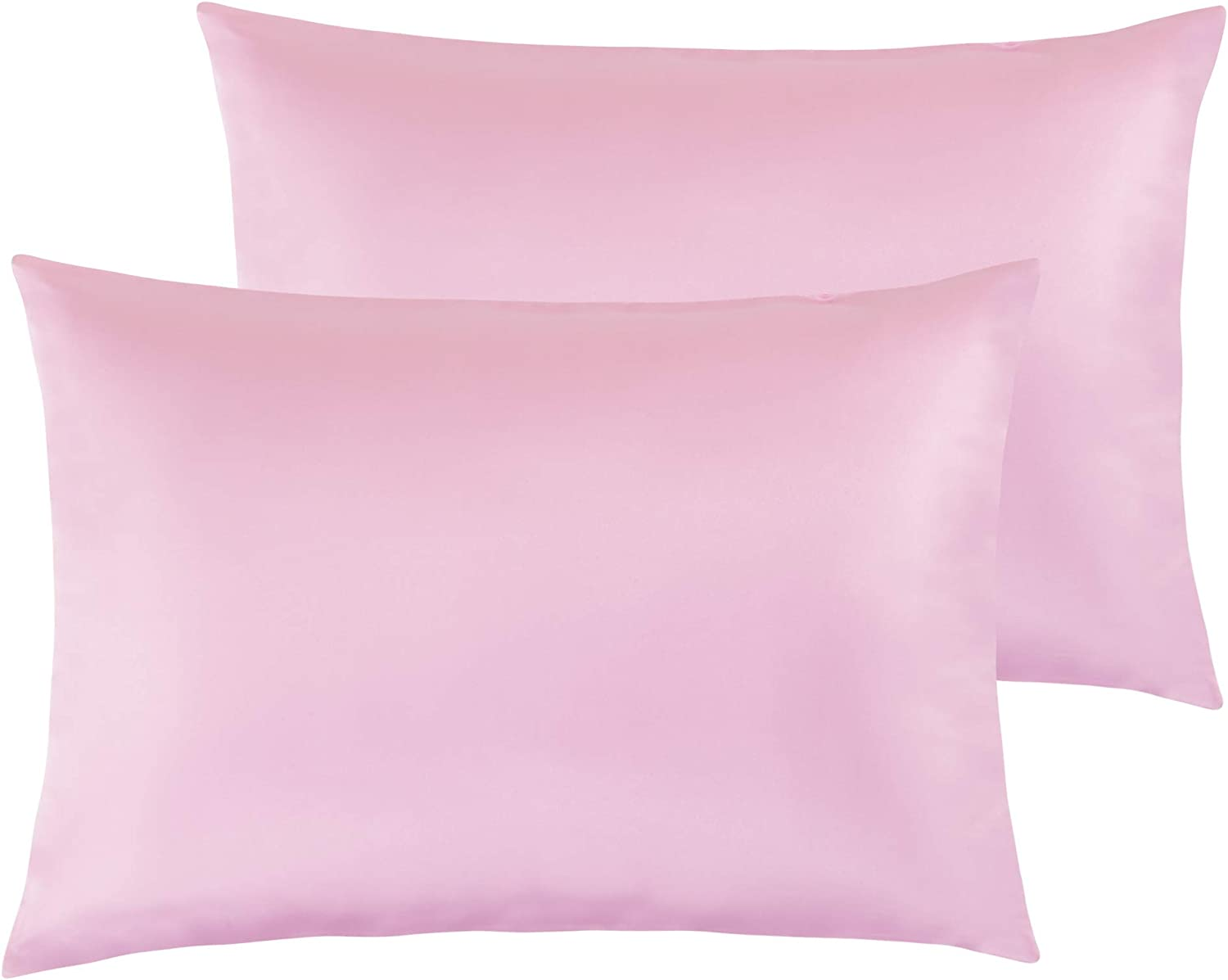 """NTBAY Satin Toddler Pillowcases, Travel Pillow Covers Set of 2, Zipper Closure, Super Soft and Luxury, 13""""x 18"""", Light Pink"""