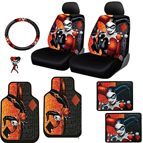Plasticolor 10 Piece DC Comics Harley Quinn Floor Mats, Seat Covers, Steering Wheel Cover Set with Bonus Air Freshener for your Car Truck or SUV