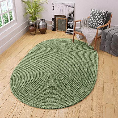 Super Area Rugs Maui Braided Rug Indoor Outdoor Rug Washable Reversible Green Patio Porch Kitchen Carpet, 3