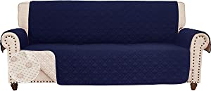 RHF Anti-Slip Sofa Cover for Leather Sofa, Couch Cover, Couch Covers for 3 Cushion Couch, Slip-Resistant Couch Cover for Leather Sofa, Sofa Covers for Living Room, Couch Covers(Sofa:Navy)