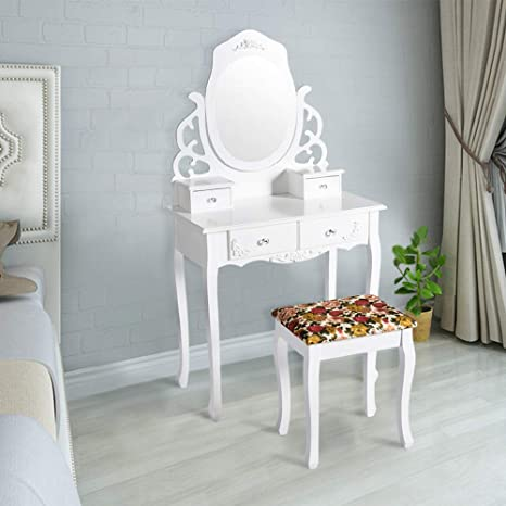 Peach Tree Elegant Vanity Set Modern Makeup Dressing Table Oval Mirror with  4 Drawers, Stool Set Easy Assembly, White