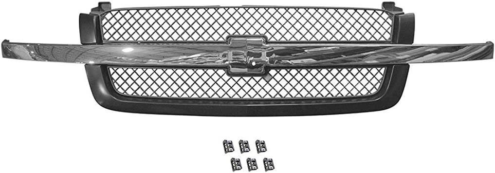 Paint To Match Smooth Black Gray Upper Grille for Chevy Avalanche Silverado 1500
