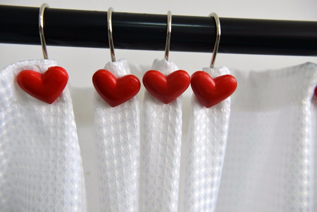 A.Monamour Decorative Shower Curtain Hooks Rustproof Smooth Gliding Shower Curtain Roller Rings For Bathroom Curtain Rods - Set of 12- Red Love Heart-Shaped Resin Art Decors Hooks