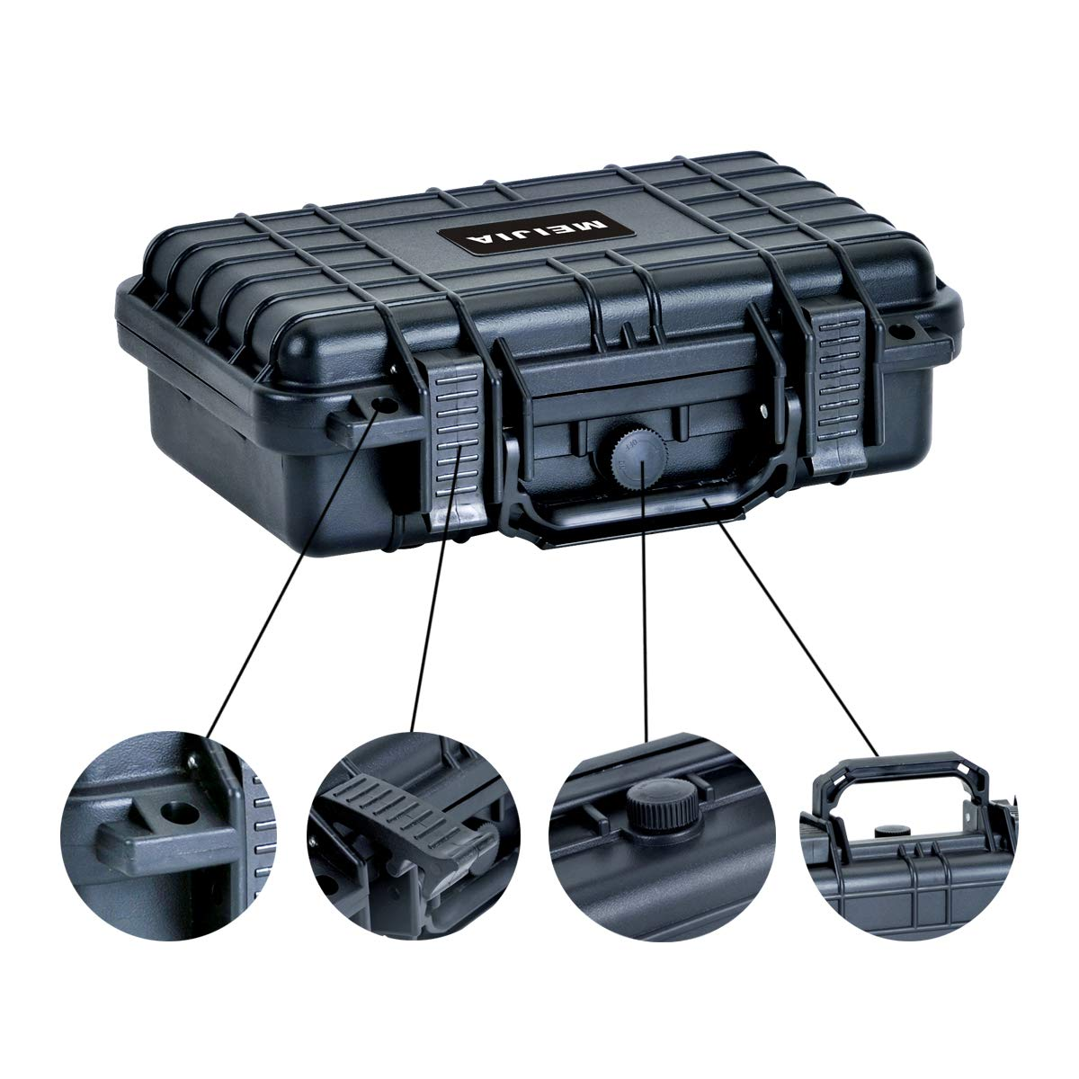 Elegant Black MIEJIA Portable All Weather Waterproof Camera Case with Foam,Fit Use of Drones,Camera,Equipments,11.65 x8.35x3.78inches