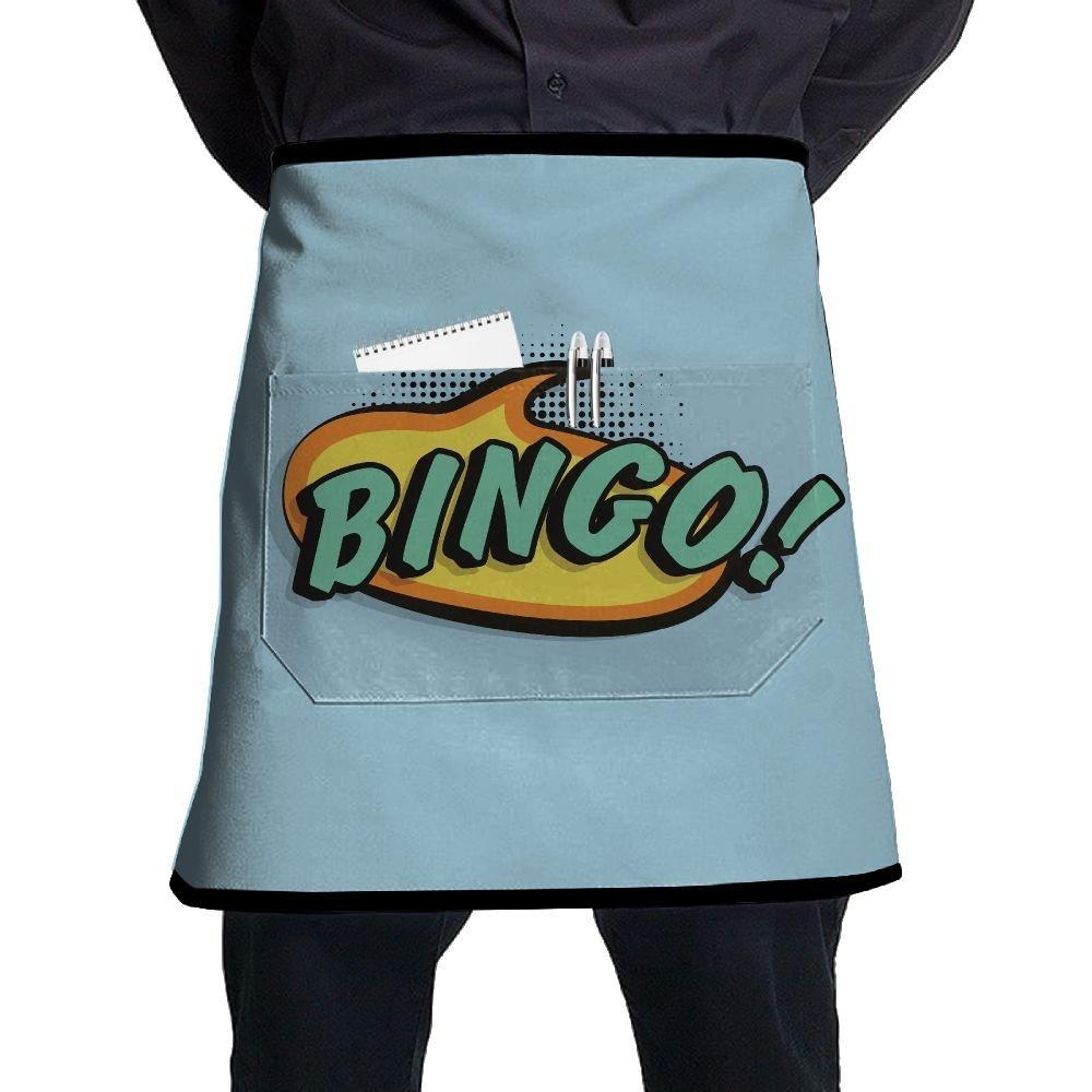 Nicokee Chef Aprons Bingo Logo Waist Tie Half Bistro Apron For Home Kitchen Cooking