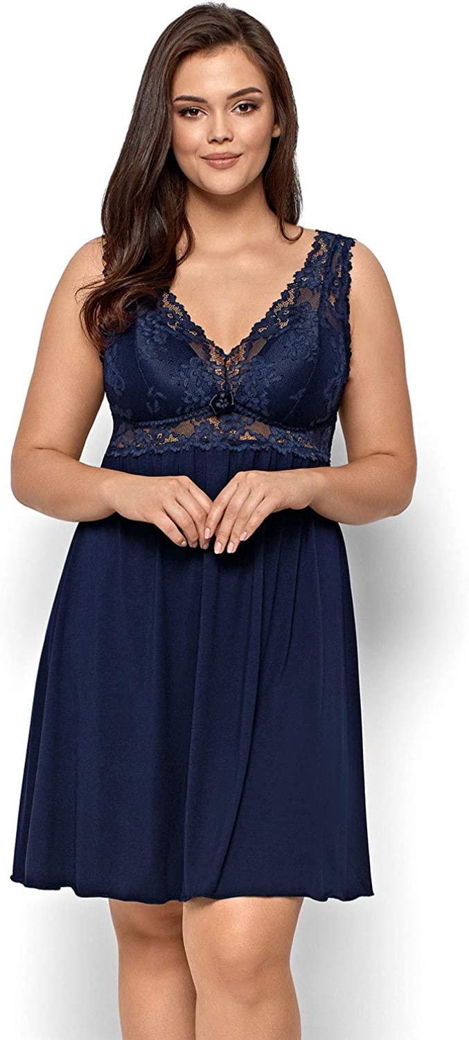 Nipplex Bona women/'s chemise lacy padded cups non removable straps made in EU