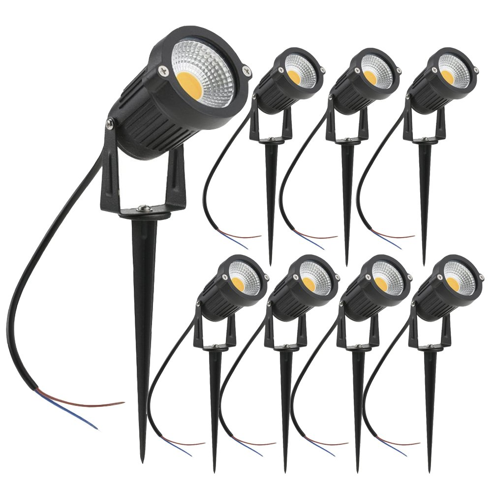 ZUCKEO 5W LED Landscape Lights 12V 24V Waterproof Garden Pathway Lights Warm White Walls Trees Flags Outdoor Spotlights with Spike Stand (8 Pack)