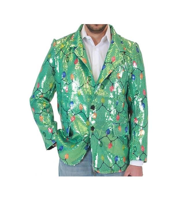 Amazon.com: Sequin Christmas Lights Green Ugly Christmas Suit ...