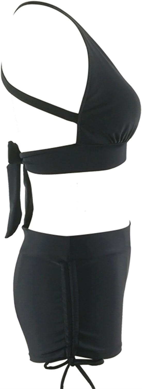 Zando Athletic V Neck Swimsuit Push Up Bikini with Boyshort Vintage Criss Cross Swimwear Two Pieces Bathsuit for Women