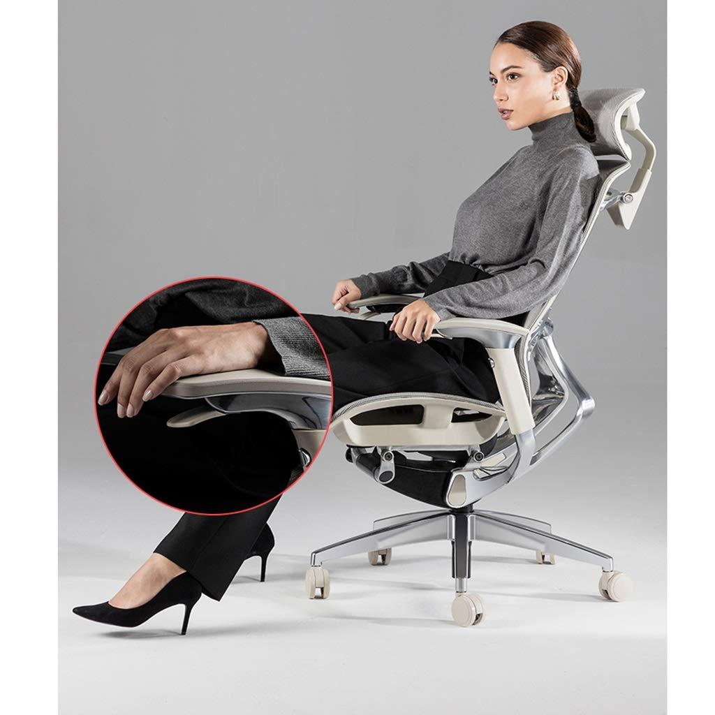 Stolar ergonomisk chef kontor multi-position justerbar rullstol e-sport kontor dubbel användning avancerad midja stödteknik (färg: grå) Svart