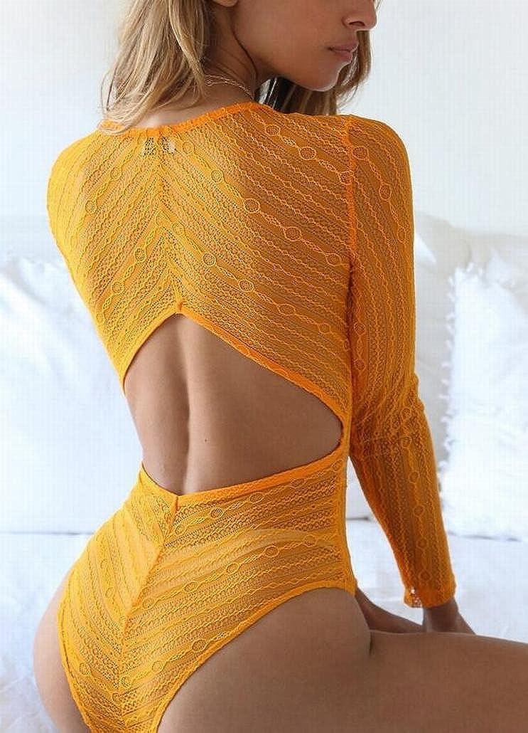 M/&S/&W Womens Deep V Neck Long Sleeve Lace Sheer Backless Bodysuit Leotard Jumpsuit Romper