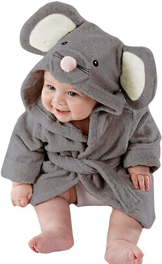 GoodLock Baby Boys Girls Bathrobes Kids Bathrobe Cartoon Animals Hooded Towel Pajamas Clothes