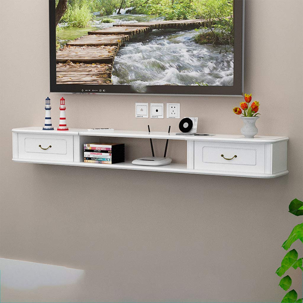 Small Size Wall Hanging TV Cabinet Living Room Decoration Solid Wood Hanging On The Wall Wall Shelf Rack Partition (Color : White)