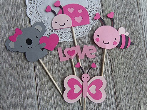 Valentine's Day Cupcake Toppers Food Picks - Koala Bear - Ladybug Bumble Bee - Butterfly - LOVE (Set of 12) (Pink Cupcake Ladybug Toppers)