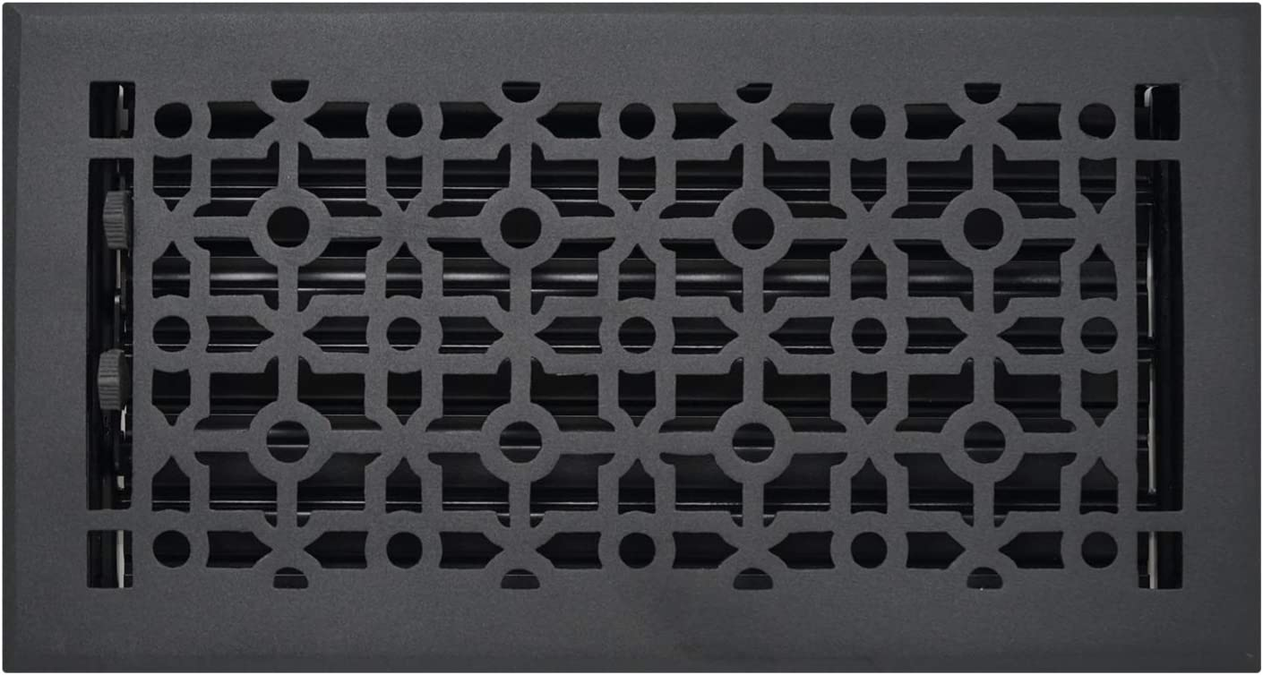 """Madelyn Carter 6"""" x 12"""" Cathedral Floor and Wall Registers, Cast Aluminum (Overall Size: 7-1/2"""" x 13-1/2"""")"""