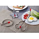 Fried Egg Mold Ring, Pancake Cooker Nonstick Stainless Steel Set Of 5PCS with Free Gift of Silicone Pastry Brush and Egg Yolk Separator For Frying Cooking, Kitchen Cooking Tools for Kids and Lovers 13 PREMIUM QUALITY-- Our egg molds are made of food grade stainless steel 18/8 with passed FDA certification ,and fully surgical-graded stainless-steel interior and outside , which gives it a brilliant, durable, rust-resistant finish that is easy to maintain, and will last a lifetime.Egg mold also come with Egg Yolk Separator and a premium silicone basting brush that adds and spread out all of your flavorings! ENJOY A FUN BREAKFAST--5PCS Different Shapes Fried Egg Ring Set: Star; heart; Round; Plum Flower; Mickey. Avoid boring. Special design for cooking eggs or pancakes for your lover as well as your family. MULTI-PURPOSE --Pancake Cooker ideal for families who want to make breakfast quickly and easily with eggs, pancakes, cookies, breakfast sandwiches, fritters, and even omelettes . Get the perfect fried egg! Easy to pop out of mould straight onto the plate in just a few minutes.