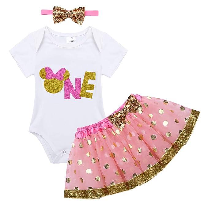 iEFiEL Conjunto Vestido Bebé para Bautizo Primer Cumpleaño Pelele con Falda Plisada tutú con Diadema 6-18 Meses: Amazon.es: Ropa y accesorios