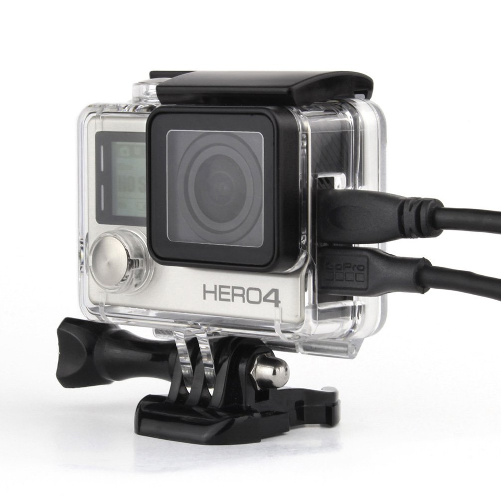 Oluoba Side Open Protective Skeleton Housing Case with LCD Touch Backdoor for GoPro Hero 4