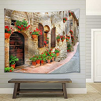 Elegant Object of Art, With Expert Quality, Picturesque Lane with Flowers in an Italian Hill Town Fabric Wall