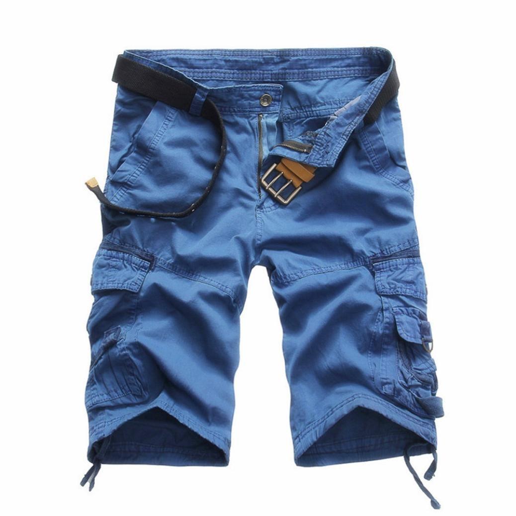 Hattfart Men's Cargo Shorts Casual Multi-Pocket Cotton Work Shorts Slim Fit (Blue, 32)