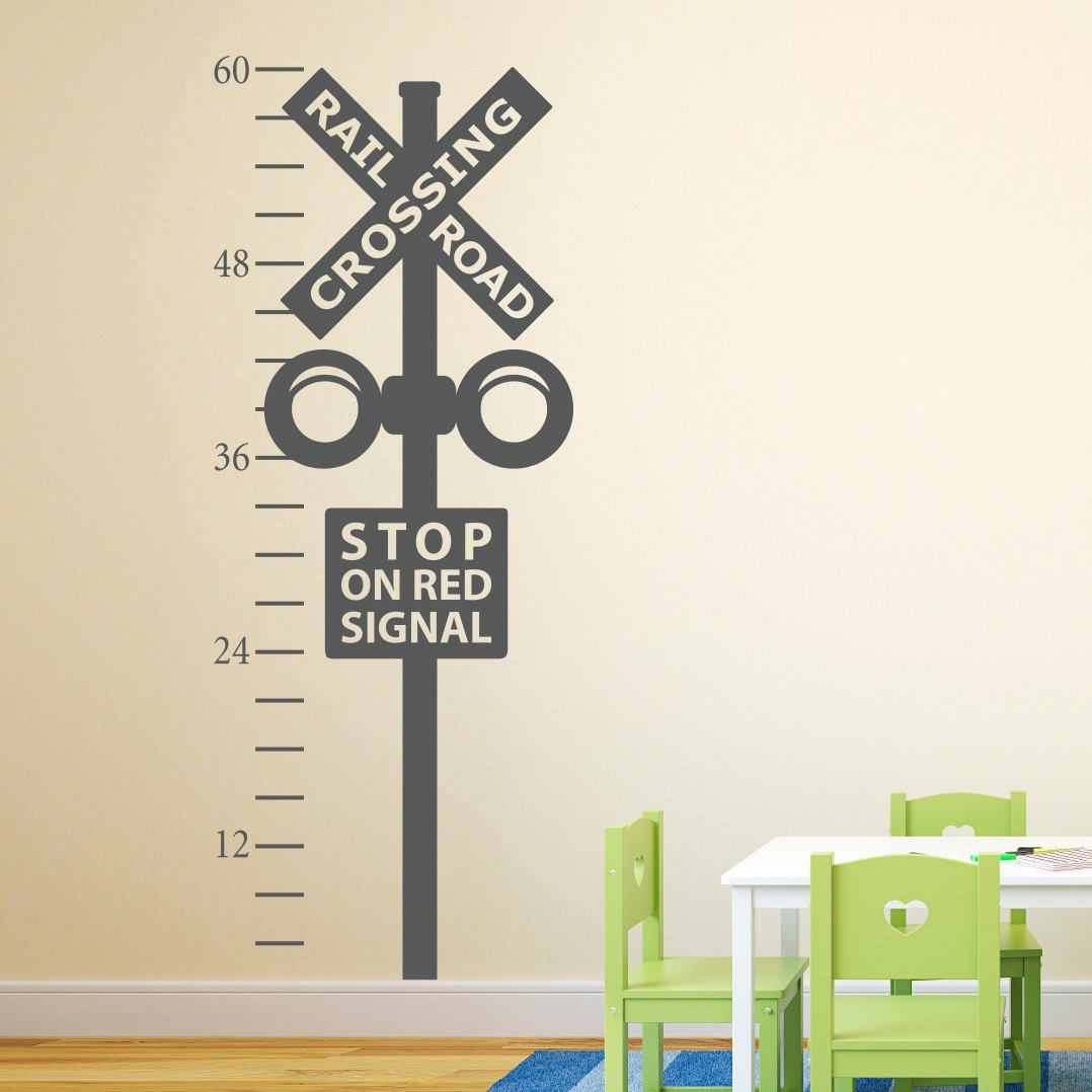 Railroad Crossing Growth Chart Decal Train Crossing Wall Decal Train Wall Art for Nursery Kids Room Playroom Decor 60.7x22.3 AdaCarroll