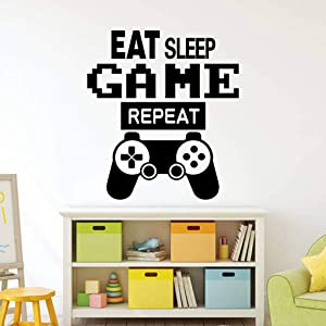 Gamer Controller Wall Decals, Video Game Boy Wall Stickers, Creative Gaming Quote Eat Sleep Repeat Game Wallpaper, Removable Poster Art Murals for Net Bar Kids Boys Playroom Bedroom Wall Decor
