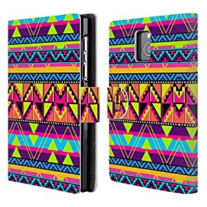 Head Case Designs Cool Neon Aztec Leather Book Wallet Case Cover For BlackBerry Passport