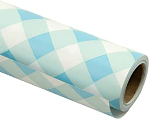 RUSPEPA Gift Wrapping Paper Roll-Baby Blue Plaid White Background Design for Wedding, Birthday, Shower, Congrats, and Holiday Gifts - 30 Inch X 32.8 Feet