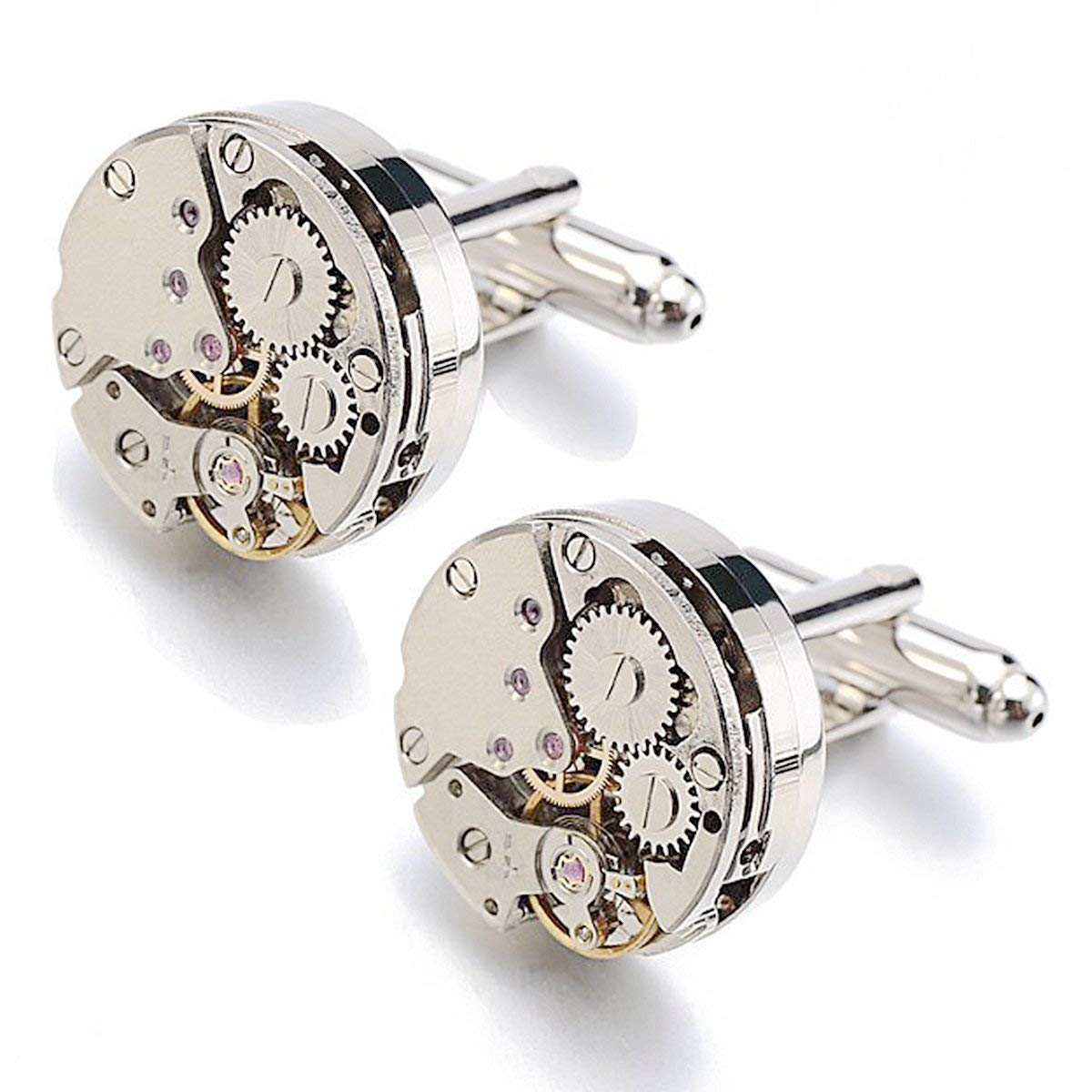 RXBC2011 Upgraded Version Deluxe Steampunk Watch Mens Vintage Watch Movement Shape Cufflinks Come in an Elegant Storage Display Box (No GIFTBOX)