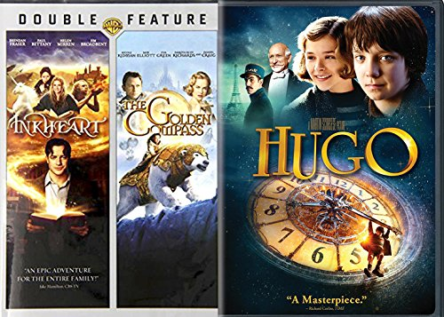 Hugo & The Golden Compass + Inkheart DVD Set Classic Family Fantasy Movie Bundle 3 Film Feature