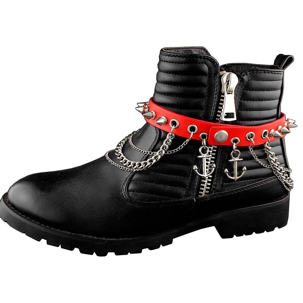 Mens Red Leather Biker Boot Bracelt Chain Spike Stud Shoes Chain