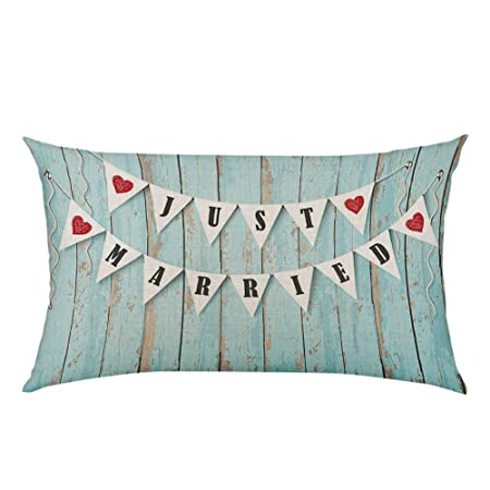 Moslion Wedding Just Married Blue Black Red Throw Pillow Cover Cotton Linen  Pillow Case Cushion Cover e0c3a89d30