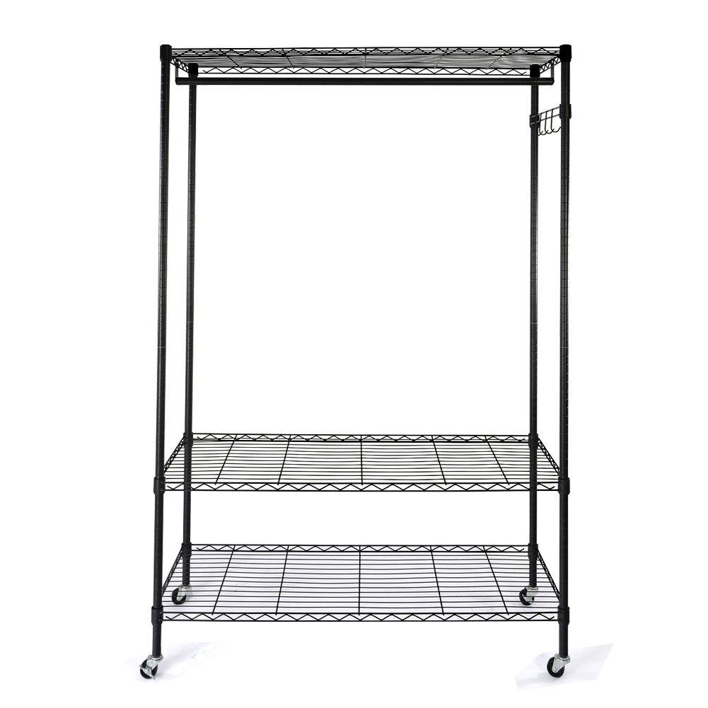 Ruhiku Heavy Duty Wire Shelving Garment Rack Rolling Storage Closet Shelf Organizer with Hanger Bar Wheels and Top and Bottom Shelves Rolling Clothes Rack, Black