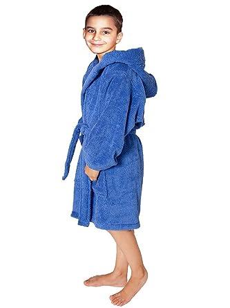 Towel Terry Bathrobe 100% Cotton Blue Kids Hooded Robe Girls   Boys Size  L 0545cbc0f
