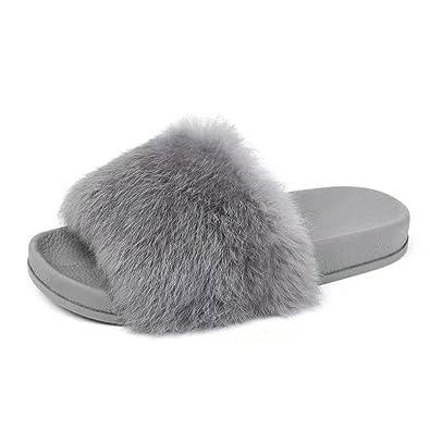Chaussures Femmes Dame Flat Gardez Chaussons, Chaud Fluffy Fausse Fourrure Plat Slipper Tongs Sandal