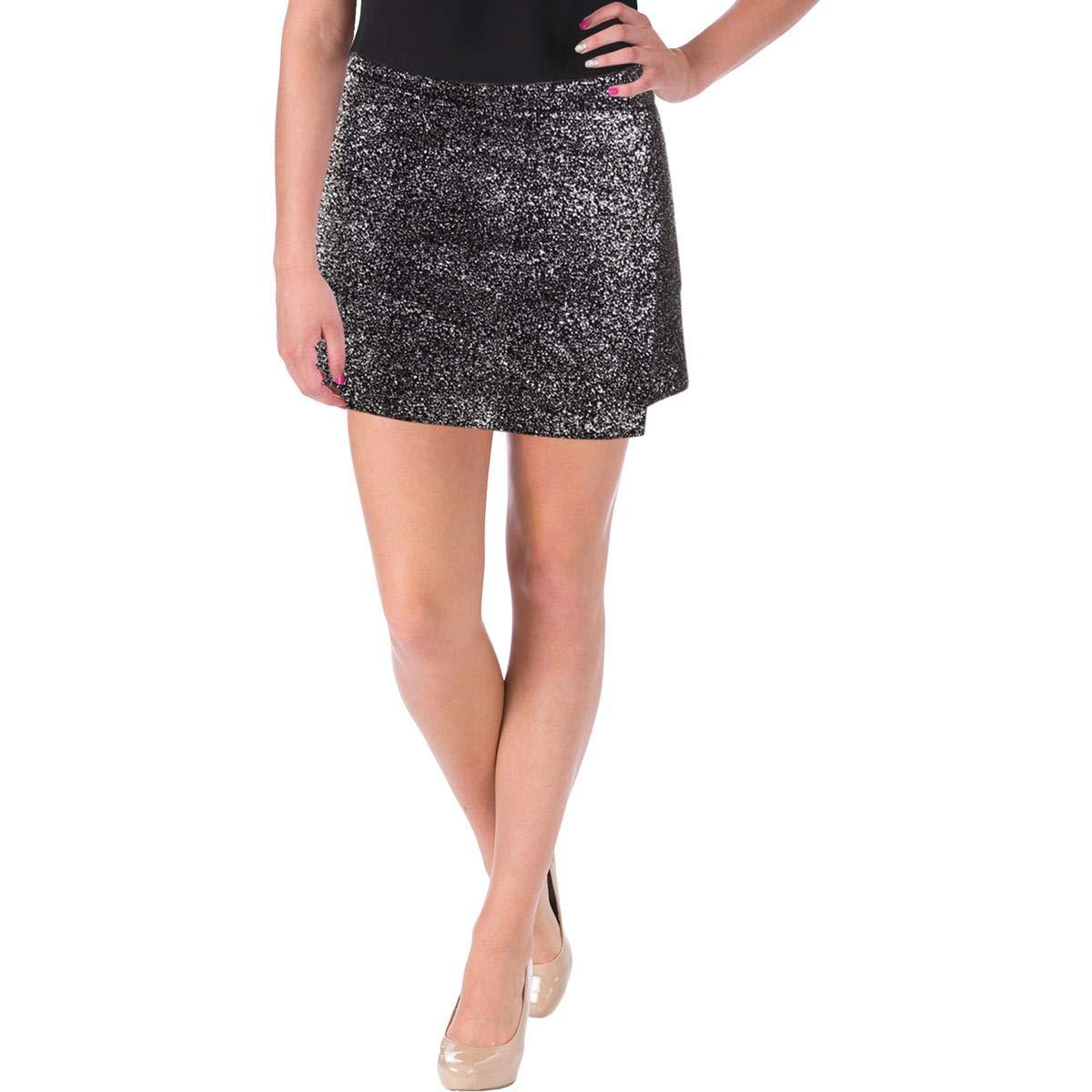 Aqua Falda metálica para Mujer - Plateado - Large: Amazon.es: Ropa ...