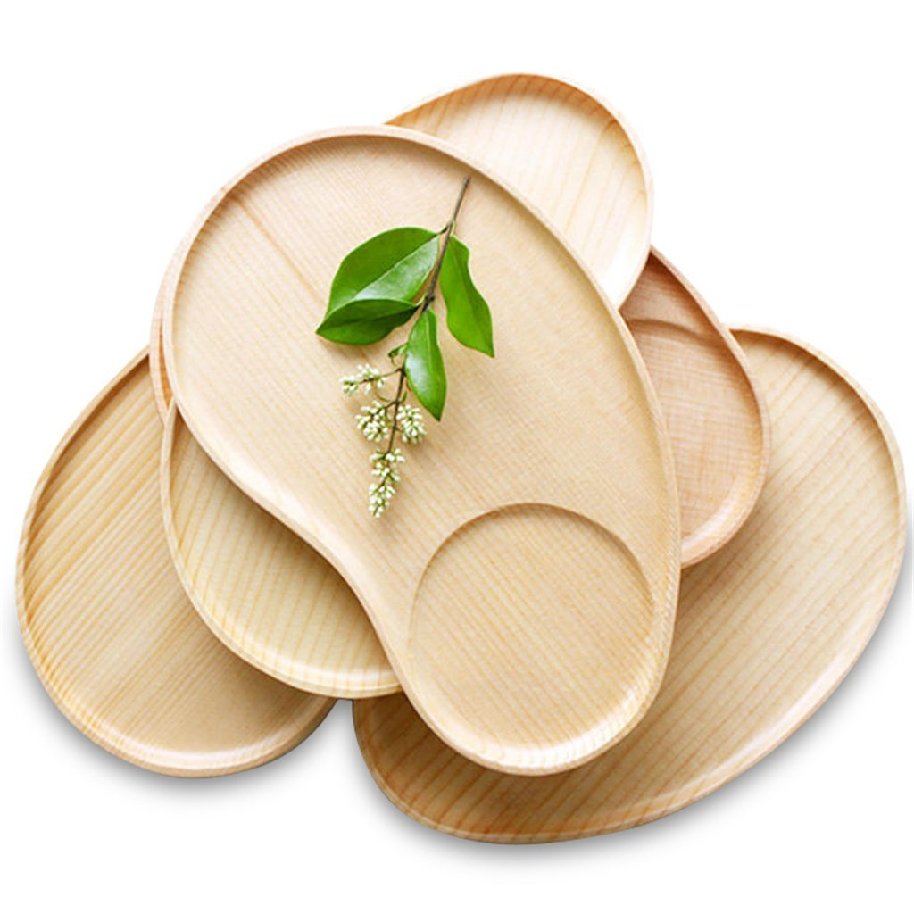 Set of 2 Fancy Wooden Platter Small Serving Tray Kids Plate for Appetizer, Cheese, Salad, Dessert Divided Dish by Ren Handcraft (Image #7)
