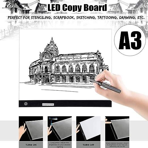 Mesa De Luz De Dibujo A3 Art Craft Dibujo Copia Trazado Tatuaje Led Caja De Luz Tablero Pad Slim Con Cable Usb: Amazon.es: Hogar