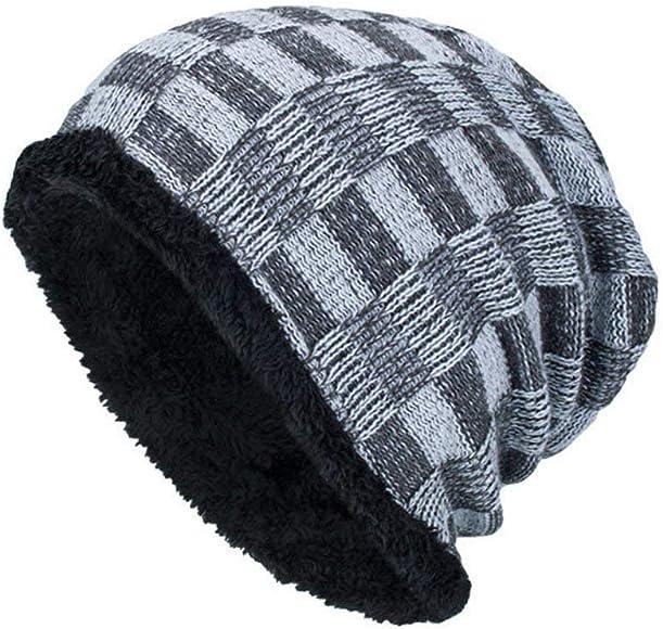 Hombres Boina Tejida Crochet Cap Beret Beanie Invierno Hombres ...