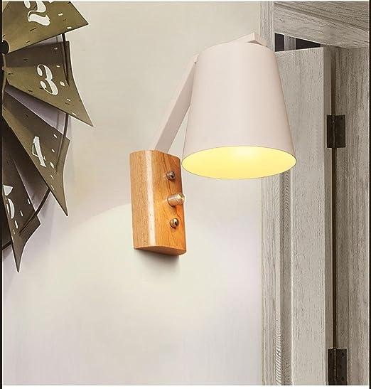 Aplique Lámpara de Pared de Madera Maciza Sala de Estar en Blanco y Negro Escalera de balcón Sala de Estar de Estilo Moderno nórdico en el Dormitorio, 2: Amazon.es: Hogar