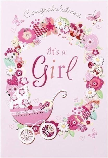 carte de voeux naissance Carte de vœux naissance bébé fille 20 x 14 cm Congratulations It's
