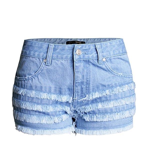 la mejor actitud 6ee3b c1409 Baymate Mujeres Verano Borla Pantalones Cortos Jeans Vintage ...