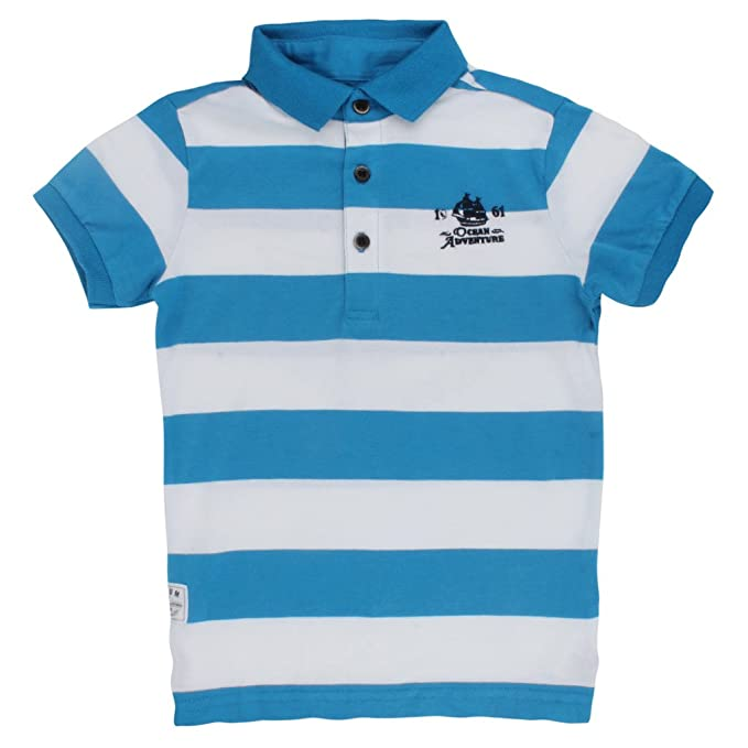 ff3853f21891 PumbaRetail Blue and White Strips Polo Neck Cotton T-Shirt (3 years ...